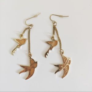 Birds flying earrings gold colour costume Jewelry